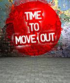 Graffiti wall with Time to move out message, urban art — Stock Photo