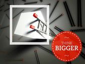 Think Bigger with top of ladder, business concept — Stock Photo