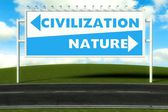 Conceptual direction signs lead to nature and civilization — Stock Photo