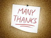 Note Many Thanks message on cork board — Stock Photo