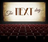 The next day movie screen in old retro cinema — Stock Photo