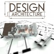 Design architecture, project of house on blueprints — Stock Photo