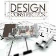 Design construction with project of house on blueprints — Stock Photo #38657545