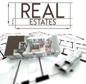 Immobiliare segno con progetto di casa — Foto Stock
