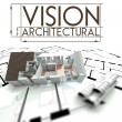 Architectural vision with project of house on blueprints — Stock Photo #38728185