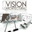 Architectural vision with project of house on blueprints — Stock Photo
