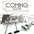 Coming soon sign, project of house on blueprints — Stock Photo