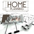 Stock Photo: Home planning sign with project of house