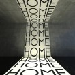 Home words on wall, modern interior — Stock Photo