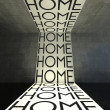 Home words on wall, modern interior — Stock Photo #38728469