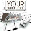Your future home sign with project of house — Foto Stock