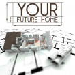 Your future home sign with project of house — ストック写真