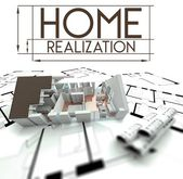 Home realization with project of house — Stock Photo
