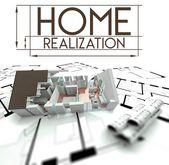 Realización de casa con proyecto de casa — Foto Stock