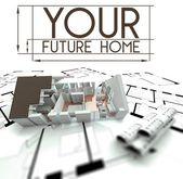 Il segno della futuro casa con progetto di casa — Foto Stock