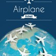 Airplane ticket concept, airplanes on earth — Stock Photo