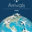 Stock Photo: Arrivals concept, airplanes on earth