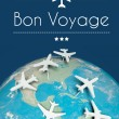Stock Photo: Bon Voyage concept, airplanes on earth