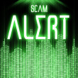 Stock Photo: Scam alert with cyber binary code technology