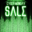 Постер, плакат: Cyber monday sale with matrix binary code technology