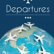 Stock Photo: Departures concept, airplanes on earth