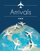 Arrivals concept, airplanes on earth — Stock Photo