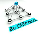 Be different concept, Hierarchy with pyramid — Stockfoto