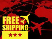 Free shipping transport concept, airlines in the world — Stock Photo