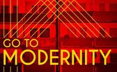Go to modernity, Architecture design modern poster — Stock Photo