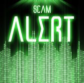 Scam alert with cyber binary code technology — Stock Photo
