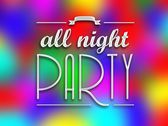 All night party invitation poster, colorful backround — Stock Photo