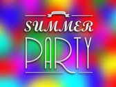 Summer party invitation poster, colorful backround — Stock Photo