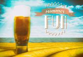 Summer fun sign with beer glass — Stock Photo