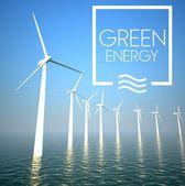 Turbina de vento na geração de energia verde de mar — Fotografia Stock