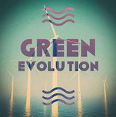 Wind farm green energy grunge vintage poster — Stock Photo