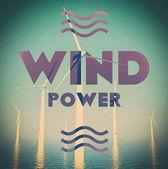 Wind farm power grunge vintage poster — Stock Photo