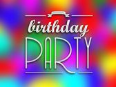 Birthday party invitation poster, colorful backround — Stock Photo