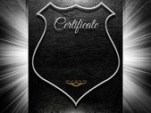 Certificate sign on leather background with copy space — Stock Photo