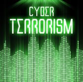 Cyber terrorism with matrix binary code technology — Stock Photo