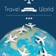 Travel around the world concept, airplanes on globe — Stock Photo #39700925