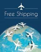 Free shipping transport concept, airplanes on earth — Stock Photo