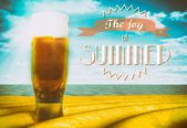 The joy of summer sign with beer glass — Foto Stock