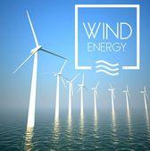 Turbina de vento no mar de geração de eletricidade — Foto Stock