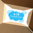 Stock Photo: Air transport seen from interior of cardboard box
