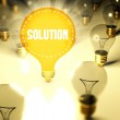 Solution concept with light bulbs — Stock Photo