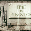 Stock Photo: Refurbishment on building wall, Time to renovation