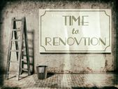 Refurbishment on building wall, Time to renovation — Stock Photo