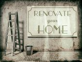 Renovate your home on wall, Time to Refurbishment — Stock Photo