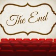 Stock Photo: Movie ending screen in old retro cinema