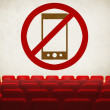 Please turn off cell phones symbol on screen in old cinema — Stock Photo